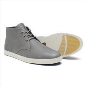Clae chukka leather gray lace up boots